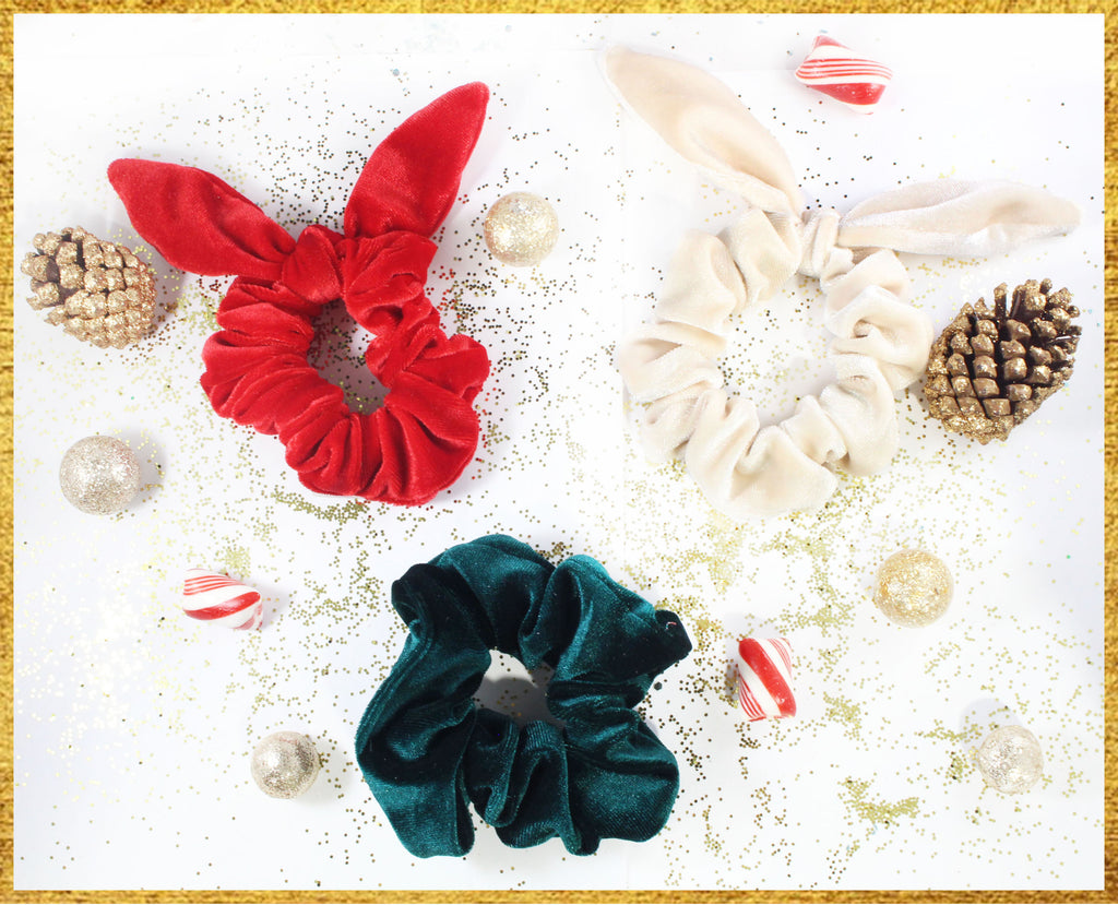 Candy Cane Velvet Scrunchie Bundle