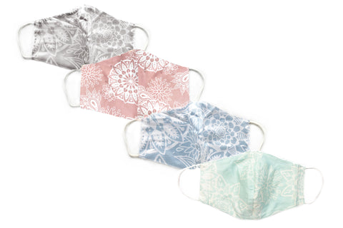 Pastel Mandala Paisley Wide Face Mask Set- 4 PACK *Ships 8/17