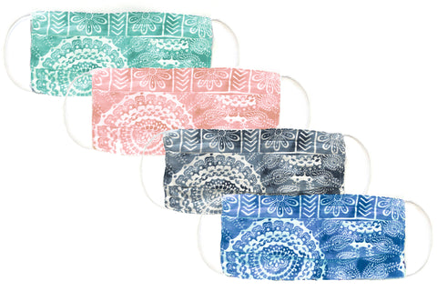 Watercolor Mandala Pleated Face Masks Pre-Pack of 4