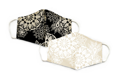 Cream and Black Mandala Paisley Wide Face Mask Set- 2 PACK