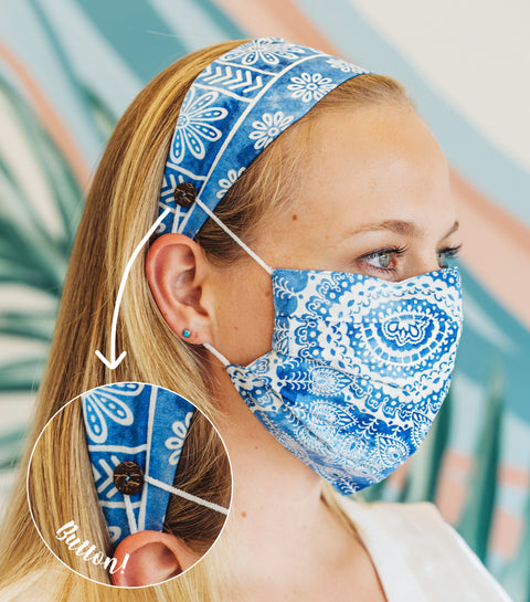 Blue Watercolor Pleated Face Mask + Headband w/ Button
