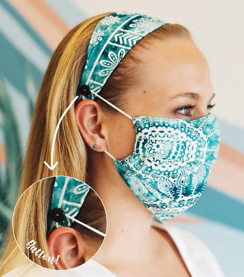 Teal Watercolor Pleated Face Mask + Headband w/ Button