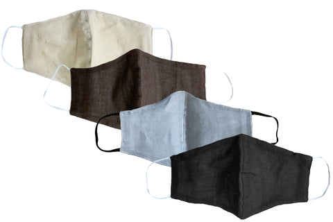 Sale! Neutral Cotton Wide Face Mask w/ Filter Slip- 4 PACK ASSORTED