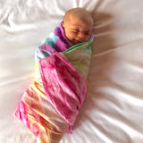 {Rainbow} Hand Dyed Swaddle Blanket - Eli+Ryn
