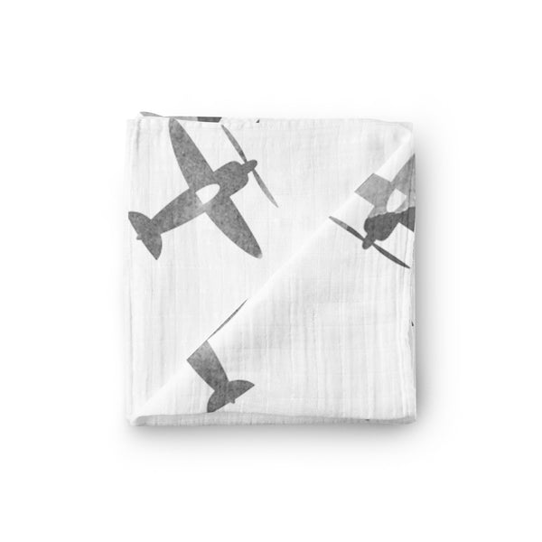 Airplane Stamped Swaddle Blanket - Eli+Ryn