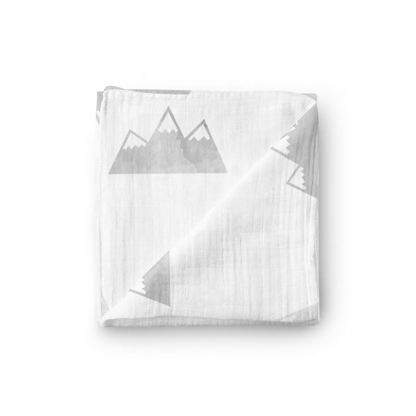 Mountains Stamped Swaddle Blanket - Eli+Ryn