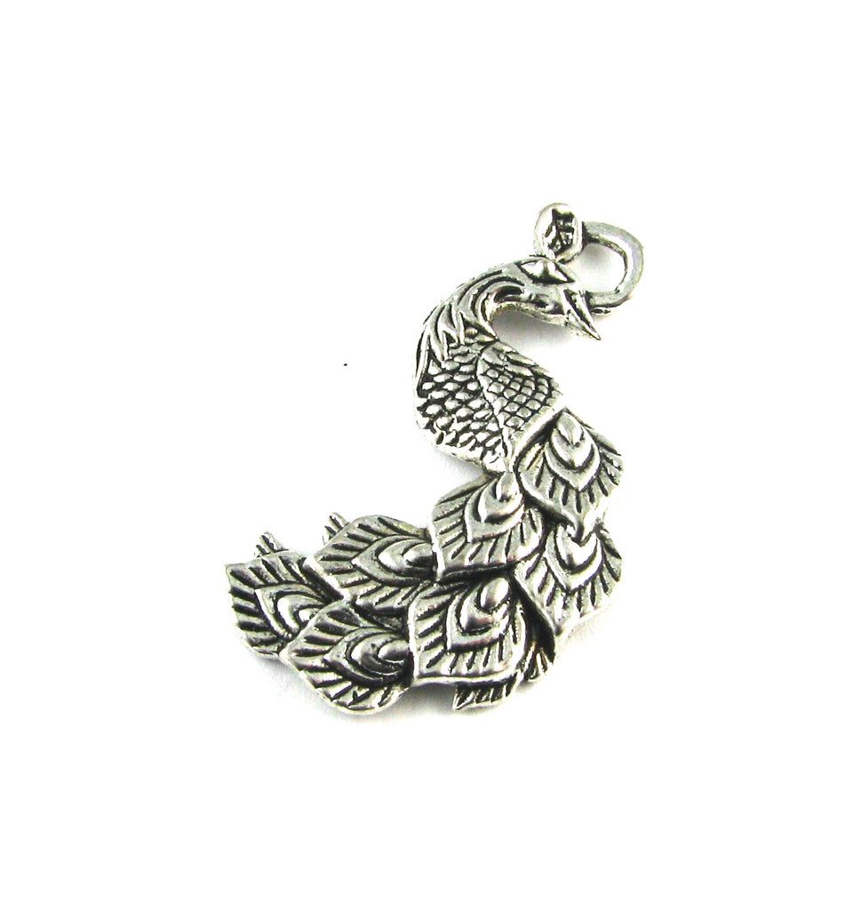 Peacock Antique Silver Charm