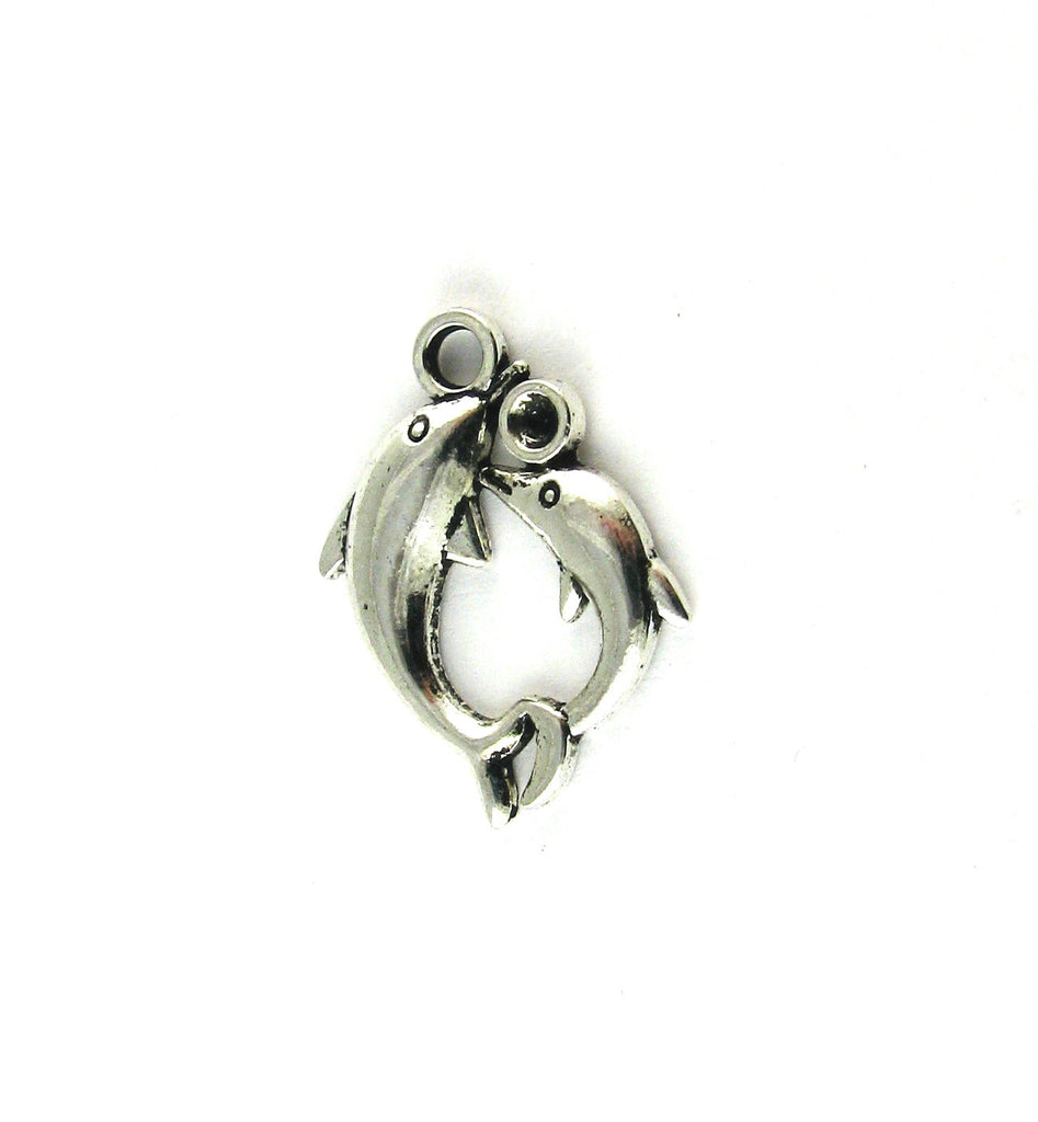 Mother & Baby Dolphins Antique Silver Charm
