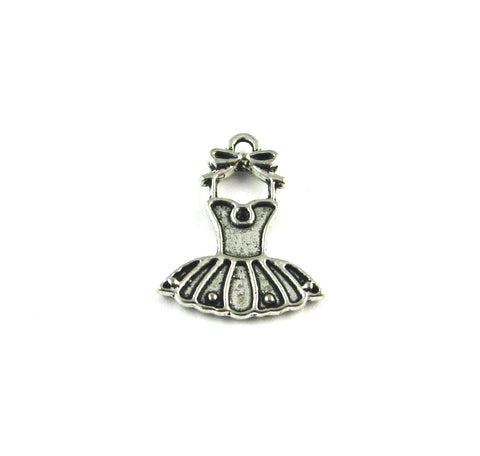 Ballerina Tutu Dress Antique Silver Charm