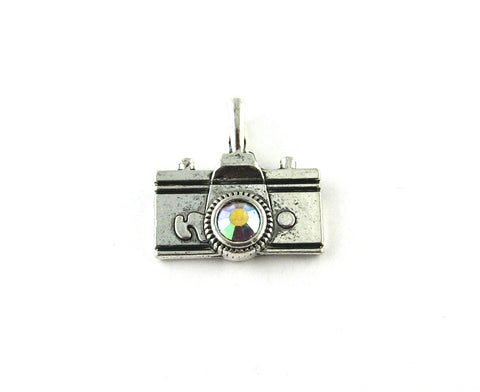 Camera w/Clear Rhinestone Antique Silver Charm