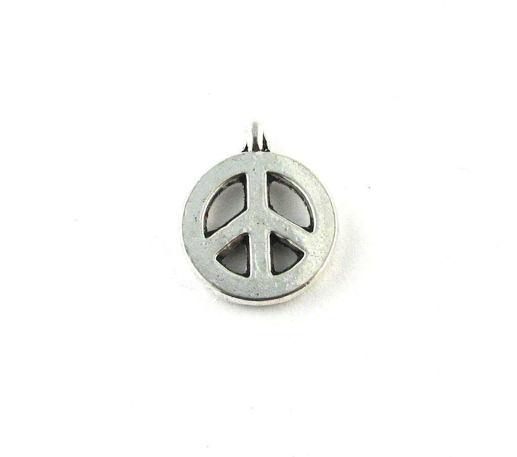 Small Peace Sign Antique Silver Charm