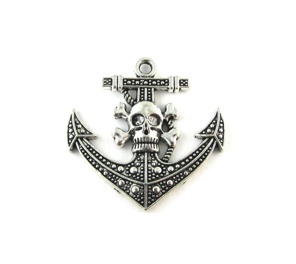 Anchor w/Skull & Cross Bones Antique Silver Charm