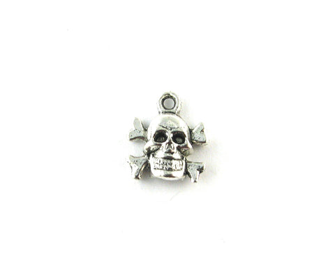 Skull w/Cross Bones Antique Silver Charm