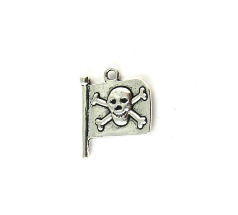 Skull w/Cross Bones on Flag Antique Silver Charm