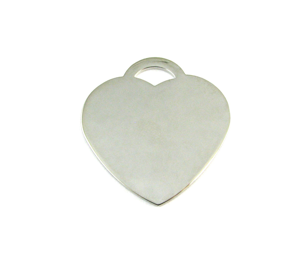 Tiffany Heart Shaped Nickel Plated Blank Pendant (37mm x 35mm)