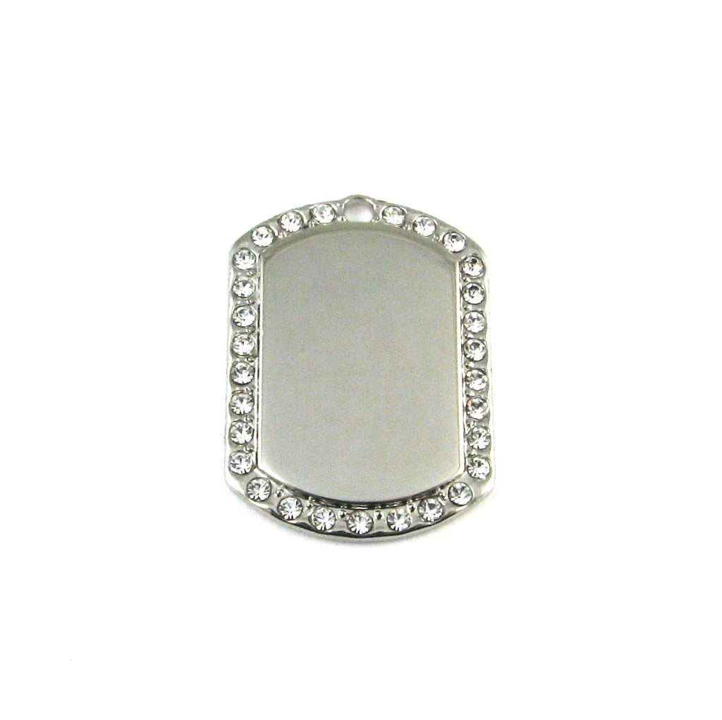 Mini Dog Tag CZ Rhodium Plated Blank Pendant (35mm x 25mm)
