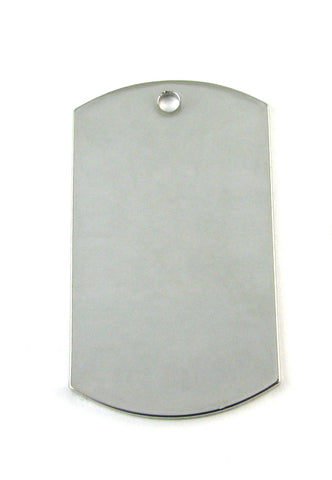Standard Dog Tag Rhodium Plated Blank Pendant (49mm x 29mm)