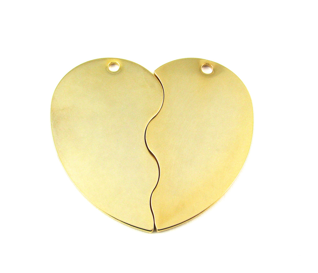 Heart Shape 2 Piece Gold Plated Blank Pendant (47mm x 27mm)