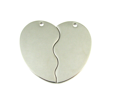 Heart Shape 2 Piece Nickel Plated Blank Pendant (47mm x 27mm)
