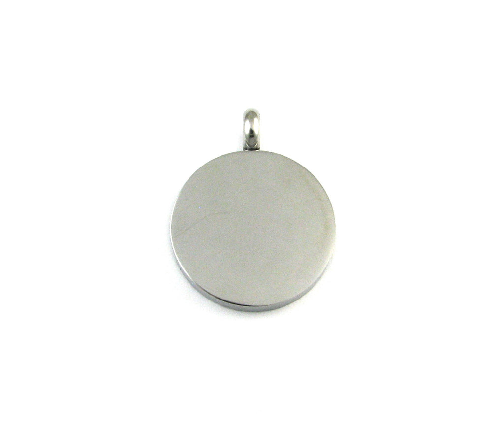Medium Circle Round Stainless Steel Blank Pendant (31mm x 24mm x 3mm)