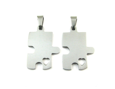 Puzzle Piece w/Heart Cutout Set of 2 Stainless Steel Blank Pendant (30mm x 21mm)