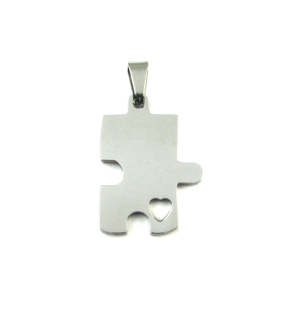 Puzzle Piece w/Heart Single Cutout Stainless Steel Blank Pendant (30mm x 21mm)
