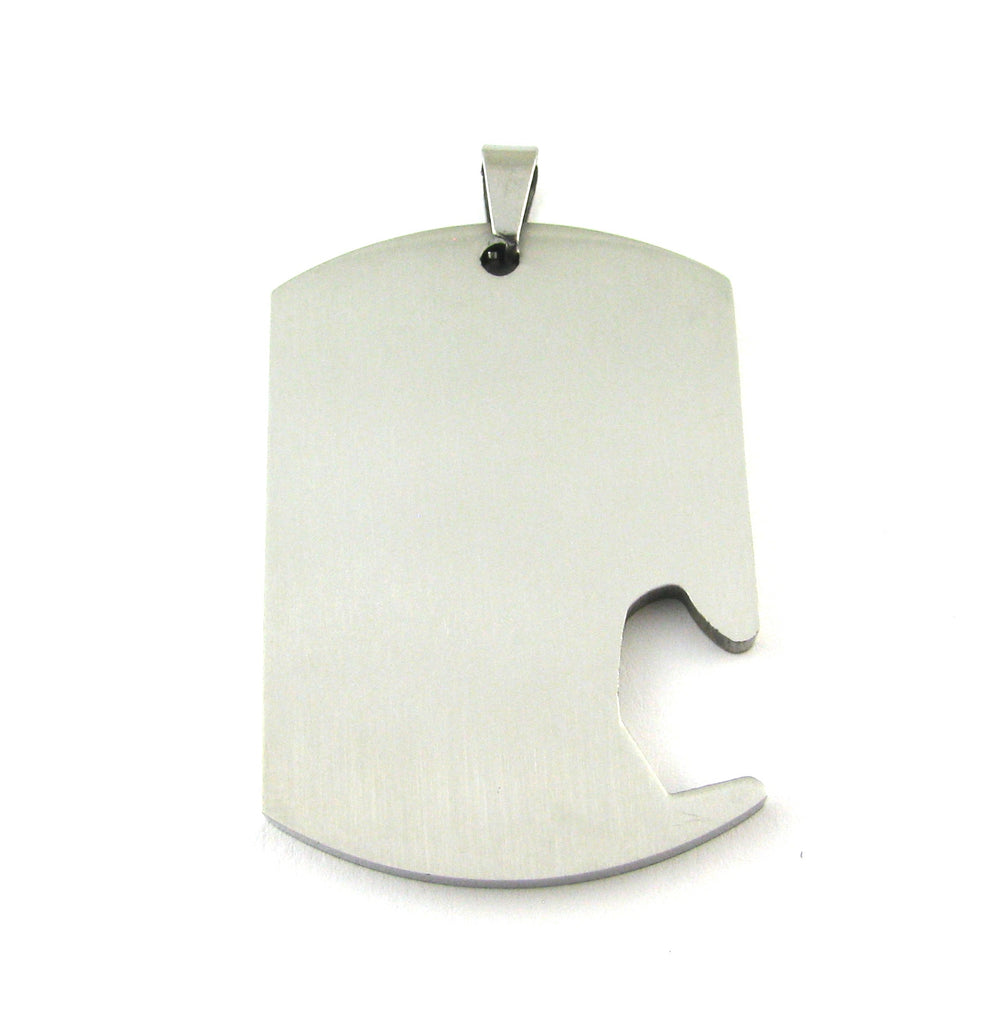 Dog Tag Side Bottle Opener Stainless Steel Blank Pendant (50mm x 34mm x 3mm)