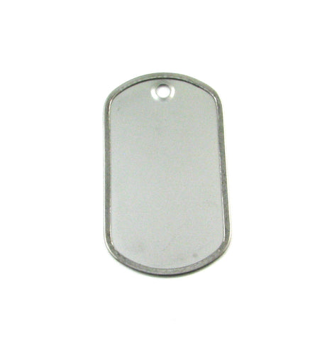 Standard Dog Tag Rolled Edge Matte Stainless Steel Blank Pendant (50mm x 29mm)