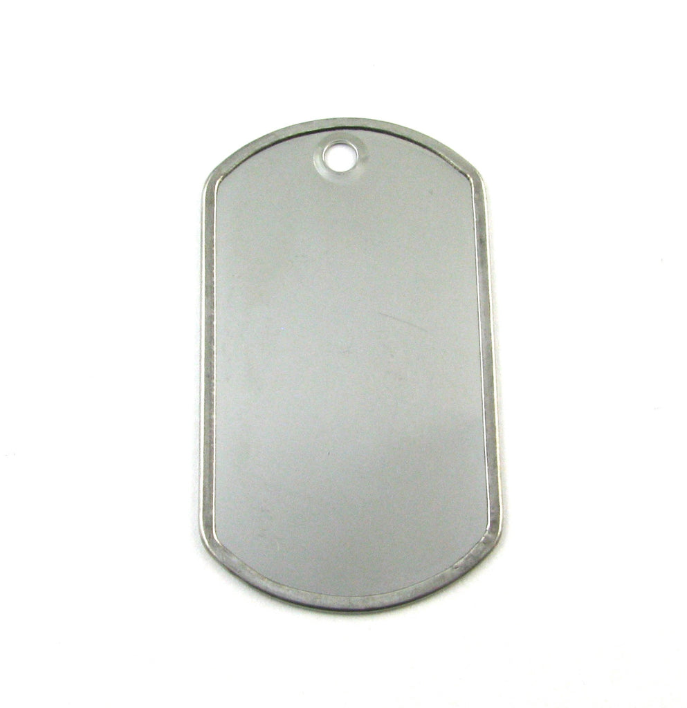 Standard Dog Tag Rolled Edge Shiny Stainless Steel Blank Pendant (50mm x 29mm)