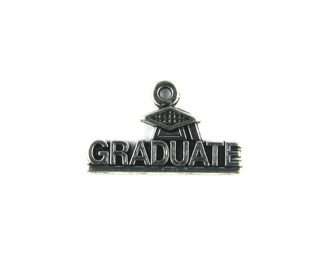 """Graduate"" Antique Silver Charm"