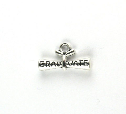 """Graduate"" Diploma Antique Silver Charm"