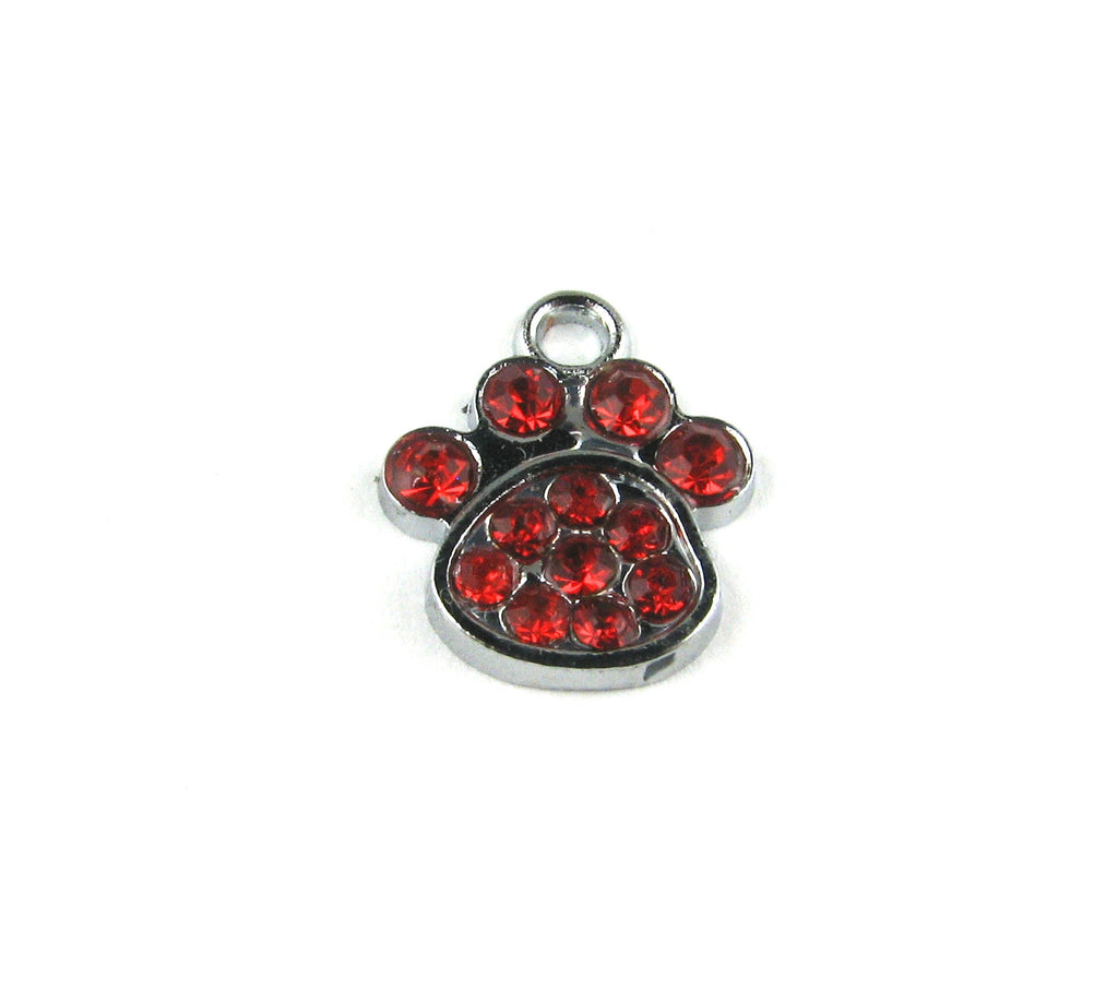 Paw Print w/Red Rhinestones Antique Silver Charm