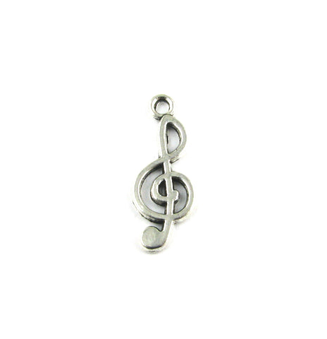 Treble Clef Music Note Antique Silver Charm