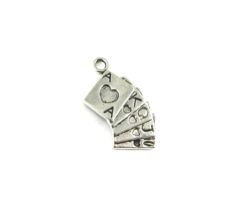 Royal Flush Cards Antique Silver Charm