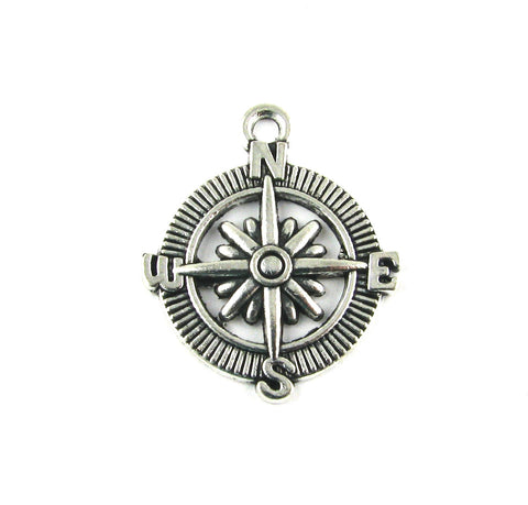 Compass Antique Silver Charm