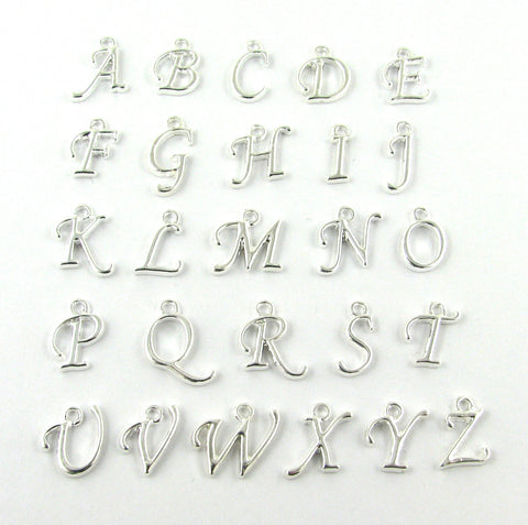 Script Alphabet Letters Silver Plated Charm