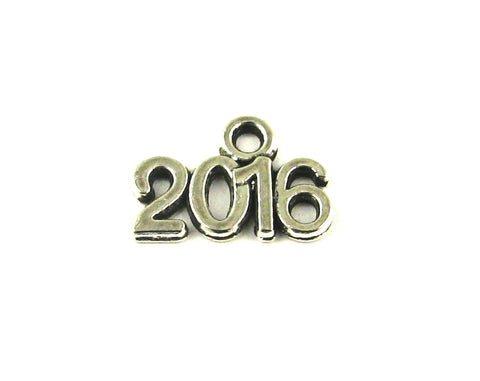 """2016"" Antique Silver Charm"