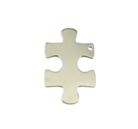 Large Puzzle Piece Stainless Steel Blank Pendant (41mm x 25mm)