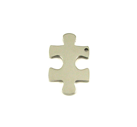 Small Puzzle Piece Stainless Steel Blank Pendant (16mm x 26mm)