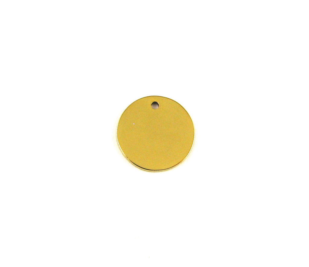 Extra Small Round Blank Gold Plated Stainless Steel Pendant (12mm Round)