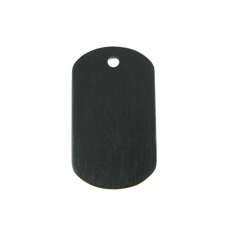 Mini Black Aluminum Dog Tag Blank Pendant (38mm x 22mm)