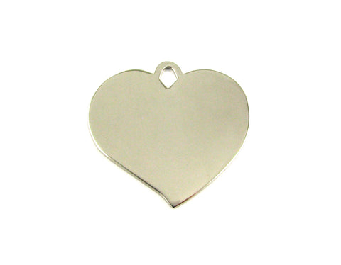 Pointed Heart Shaped Nickel Plated Blank Pendant (35mm x 37mm)