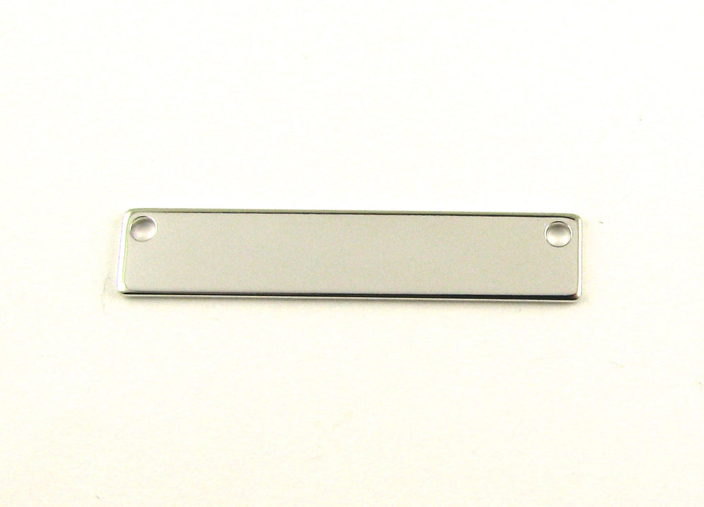 Long Bar Rhodium Plated Blank Pendant (8mm x 40mm)