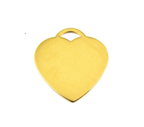 Tiffany Heart Shaped Gold Plated Blank Pendant (38mm x 36mm)