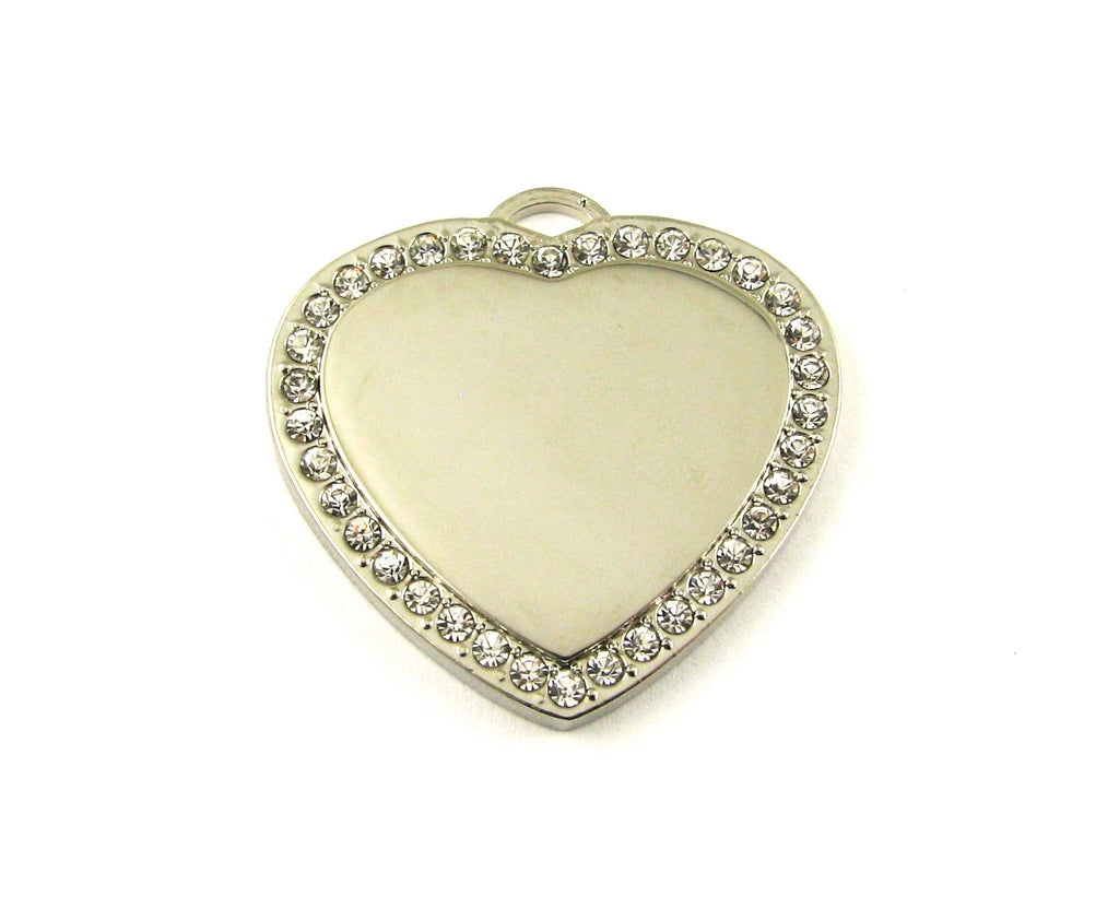 Medium Cubic Heart Nickel Plated Blank Pendant (33mm x 33mm)