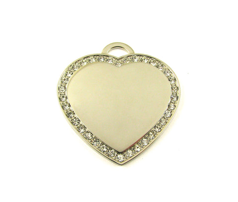 Large Cubic Heart Nickel Plated Blank Pendant (42mm x 45mm)