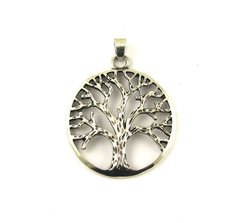 Tree of Life Large Antique Silver Pendant