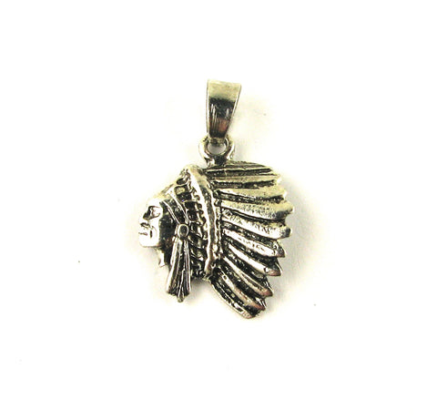 Native Indian Chief Head Antique Silver Charm