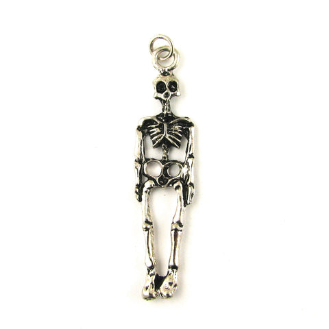 Skeleton Full Body Antique Silver Charm
