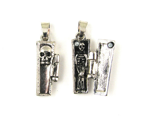 Coffin w/Skeleton Inside Antique Silver Charm